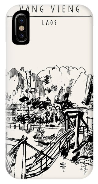 Rural iPhone Case - Wooden Bridge, Mountains, Riverside And by Babayuka