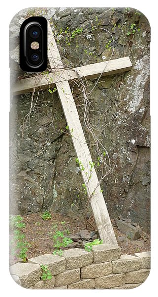 Wooden Cross In The Rocks Phone Case by Jennifer Cairns