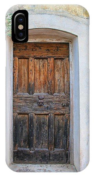 Wooden Door With Yellow Rose IPhone Case