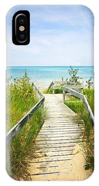 Wooden Walkway Over Dunes At Beach IPhone Case