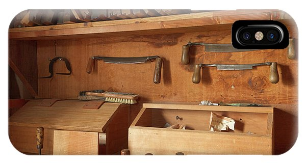 Woodworking iPhone Case - Woodworking Tools In Carpentry Shop by William Sutton