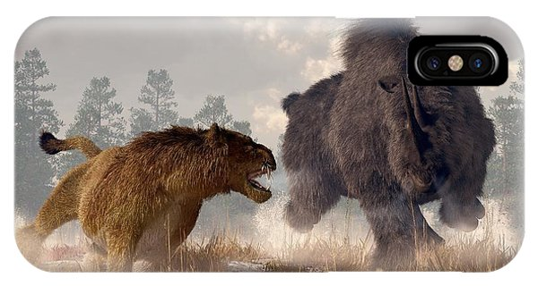 IPhone Case featuring the digital art Woolly Rhino And Cave Lion by Daniel Eskridge