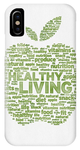 Words Healthy Living - Green Ink IPhone Case