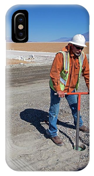 Worker Digging A Bore Hole Phone Case by Jim West