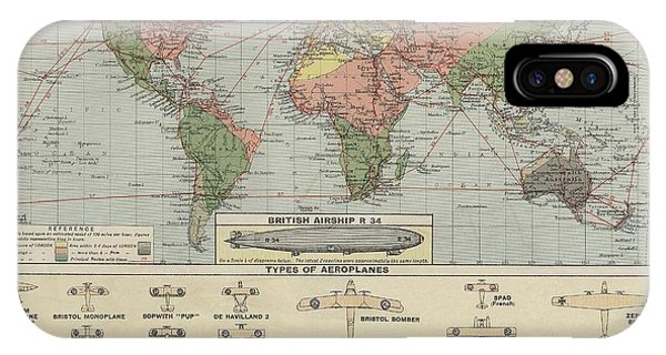 World Air Routes Map 1920 IPhone Case