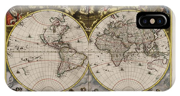 Pacific Ocean iPhone Case - World Map 1664 Ad With Small Matching Border by L Brown