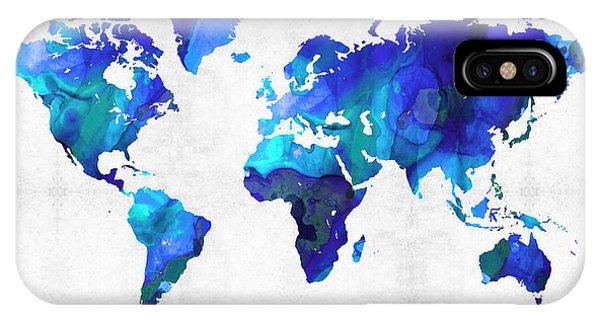 Traveler iPhone Case - World Map 17 - Blue Art By Sharon Cummings by Sharon Cummings