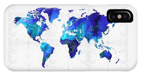 World Map 17 - Blue Art By Sharon Cummings IPhone Case