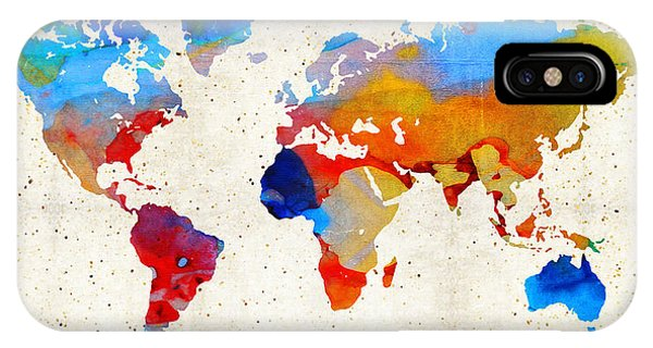 Traveler iPhone Case - World Map 18 - Colorful Art By Sharon Cummings by Sharon Cummings