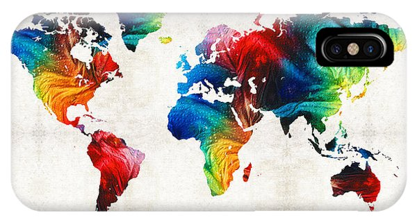 Primary Colors iPhone Case - World Map 19 - Colorful Art By Sharon Cummings by Sharon Cummings