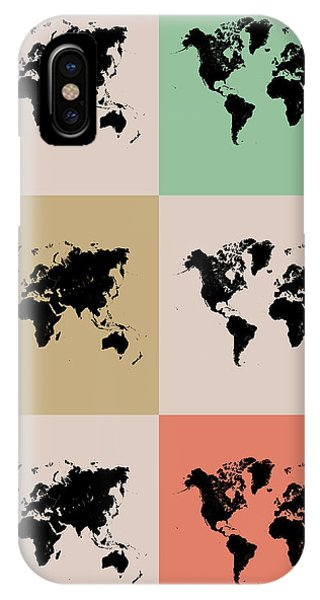 Witty iPhone Case - World Map Grid Poster 2 by Naxart Studio