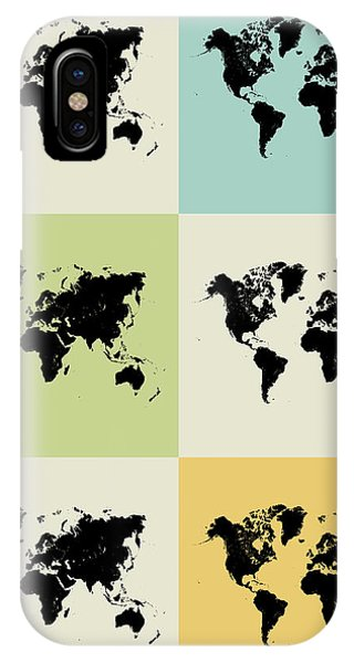 Witty iPhone Case - World Map Grid Poster by Naxart Studio