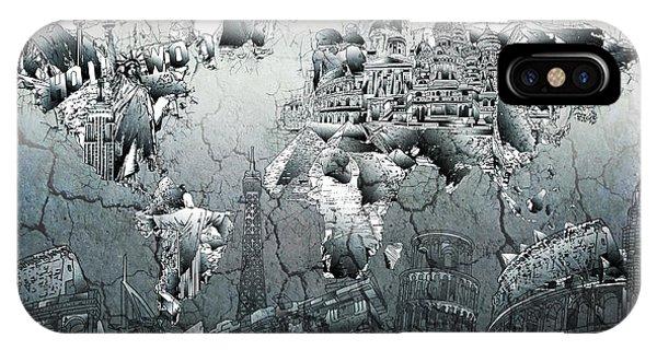 World Map Grunge Landmarks IPhone Case