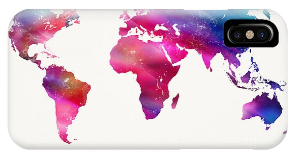 Light Paint iPhone Case - World Map Light  by Mike Maher