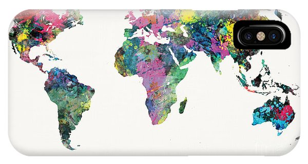 Light Paint iPhone Case - World Map by Mike Maher