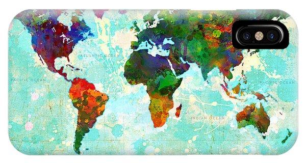 World Map Splatter Design IPhone Case