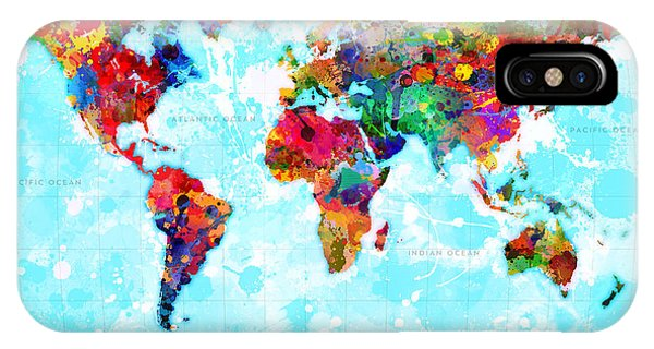 Vector iPhone Case - World Map Splattered by Gary Grayson