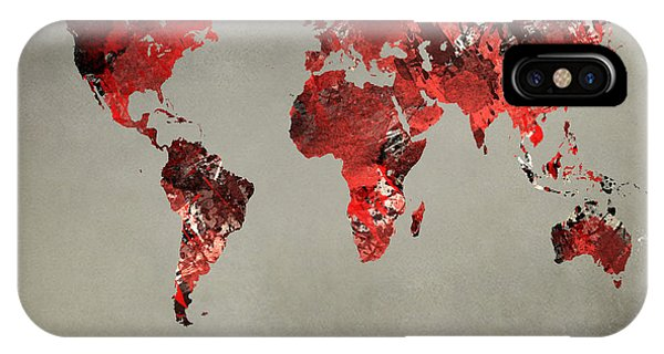 World Map - Watercolor Red-black-gray IPhone Case