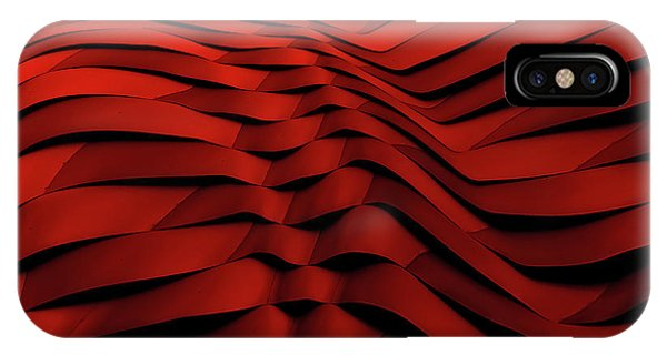 Red iPhone X Case - Woven Wave by Gilbert Claes