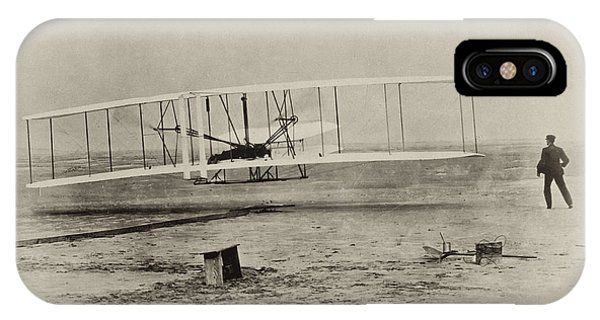 In Flight iPhone Case - Wright Brothers - First In Flight by Bill Cannon
