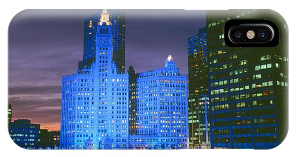 Wrigley Building, Blue Lights, Chicago IPhone Case