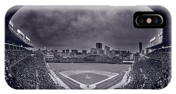 Wrigley Field Night Game Chicago Bw IPhone Case
