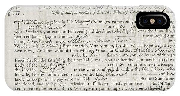 Debts iPhone Case - Writ Of Debt, 1762 by Granger
