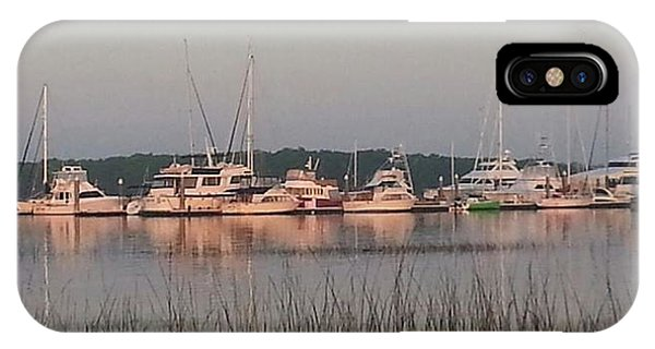 Yacht And Harbor View IPhone Case