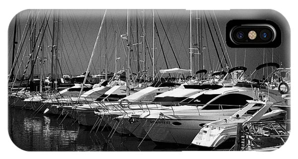 Powerboat iPhone Case - yachts and powerboats in the port marina Cambrils Catalonia Spain by Joe Fox