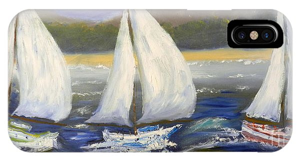 Yachts Sailing Off The Coast IPhone Case
