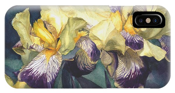 Watercolor Of A Tall Bearded Iris Painted In Yellow With Purple Veins IPhone Case