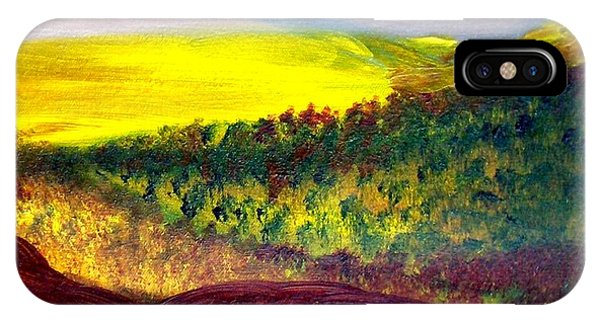 Yellow And Red Landscape Phone Case by Michaela Kraemer