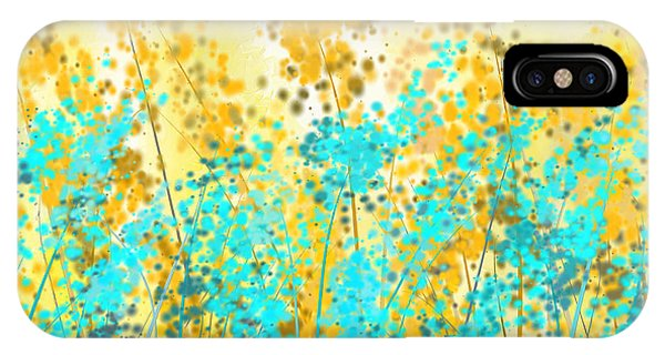 Airy iPhone Case - Yellow And Turquoise Garden by Lourry Legarde