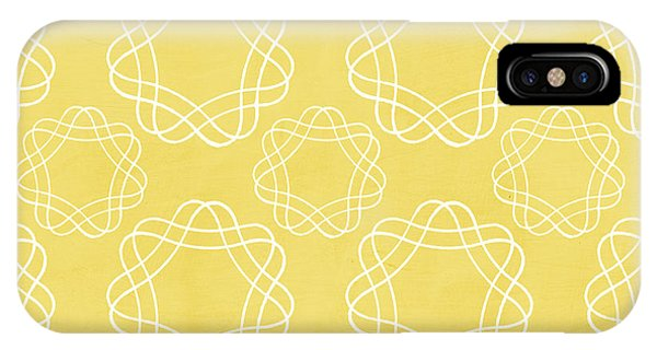Yellow Flowers iPhone Case - Yellow And White Geometric Floral  by Linda Woods