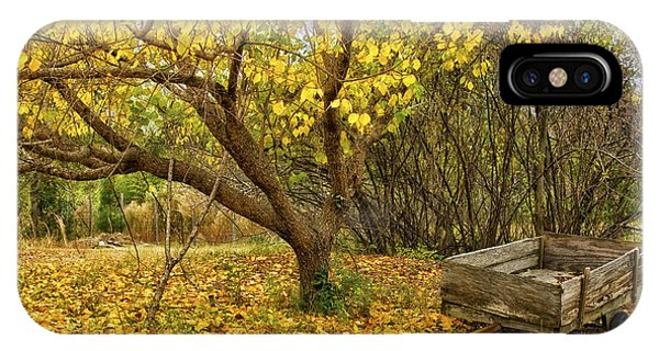 Yellow Autumn Leaves And Wooden Wagon IPhone Case