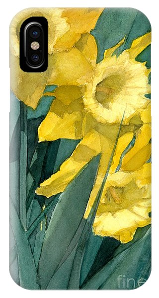 Watercolor Painting Of Blooming Yellow Daffodils IPhone Case