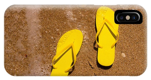 c21341360afa The Flop iPhone Case - Yellow Flip Flops On The Beach by Teri Virbickis