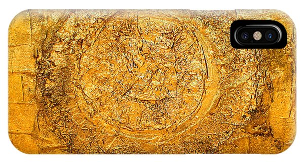 Yellow Gold Mixed Media Triptych Part 1 IPhone Case