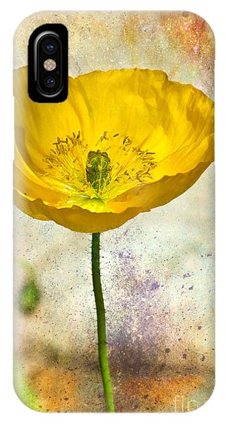 Yellow Icelandic Poppy And Texture IPhone Case