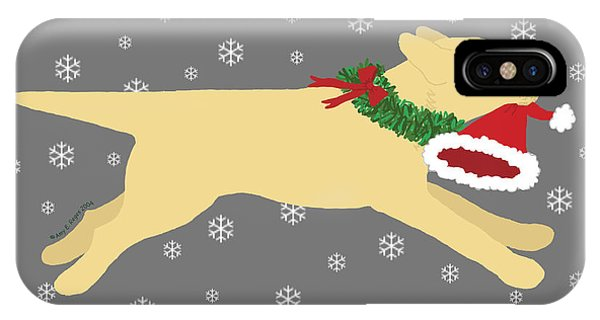 Yellow Labrador Dog Steals Santa's Hat IPhone Case