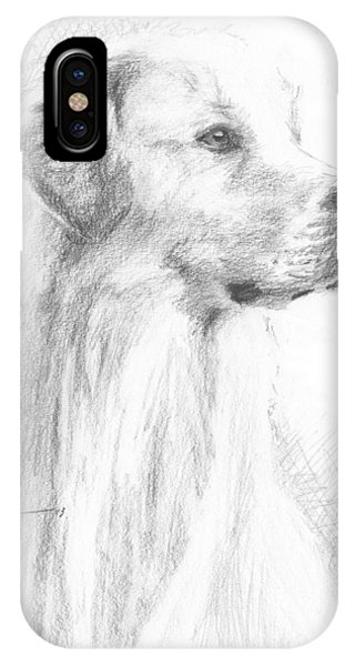 Yellow Labrador Show Dog Pencil Portrait Phone Case by Mike Theuer