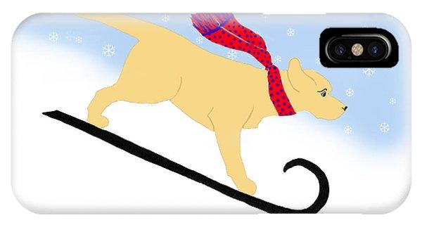 Yellow Labrador Snowboard Dog IPhone Case