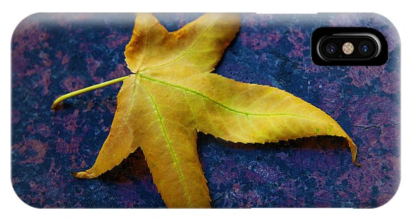 Yellow Leaf On Marble IPhone Case