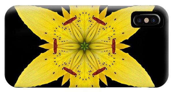 Yellow Lily I Flower Mandala IPhone Case