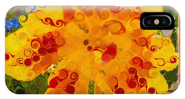 Yellow Lily With Streaks Of Red Abstract Painting Flower Art IPhone Case