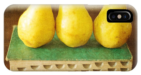 Yellow Pears And Vintage Green Book Still Life IPhone Case