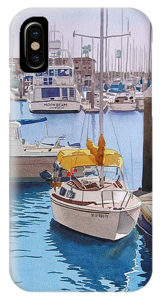 Docked Boats iPhone Case - Yellow Sailboat Oceanside by Mary Helmreich