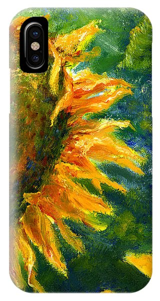 Yellow Sunflower Art In Blue And Green IPhone Case