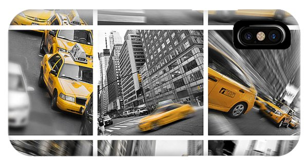 New York City Taxi iPhone Case - Yellow Taxis Collage by Delphimages Photo Creations