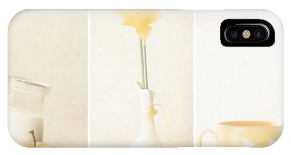Soft iPhone Case - Yellow (triptych) by Delphine Devos